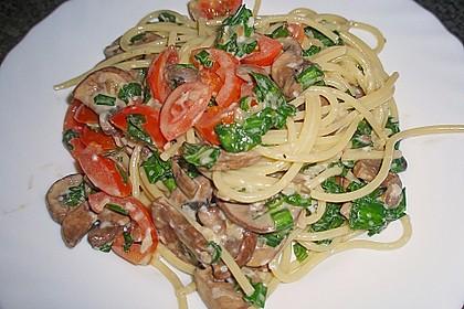 Bärlauch - Spaghetti mit Champignons 12