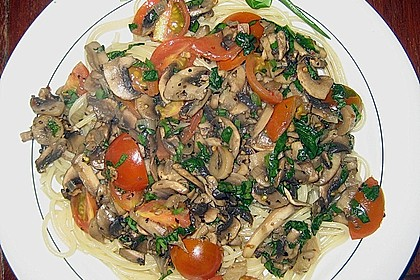 Bärlauch - Spaghetti mit Champignons 16