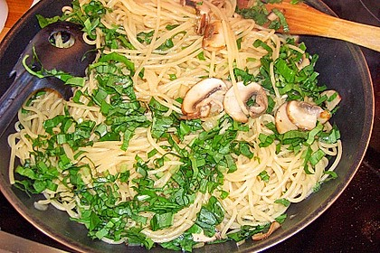 Bärlauch - Spaghetti mit Champignons 19