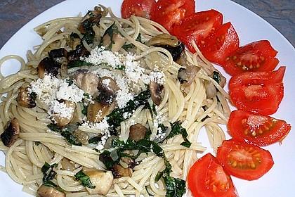 Bärlauch - Spaghetti mit Champignons 10