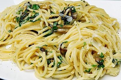 Bärlauch - Spaghetti mit Champignons 1