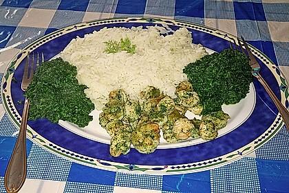 Marinierte Garnelen mit Reis und Spinat