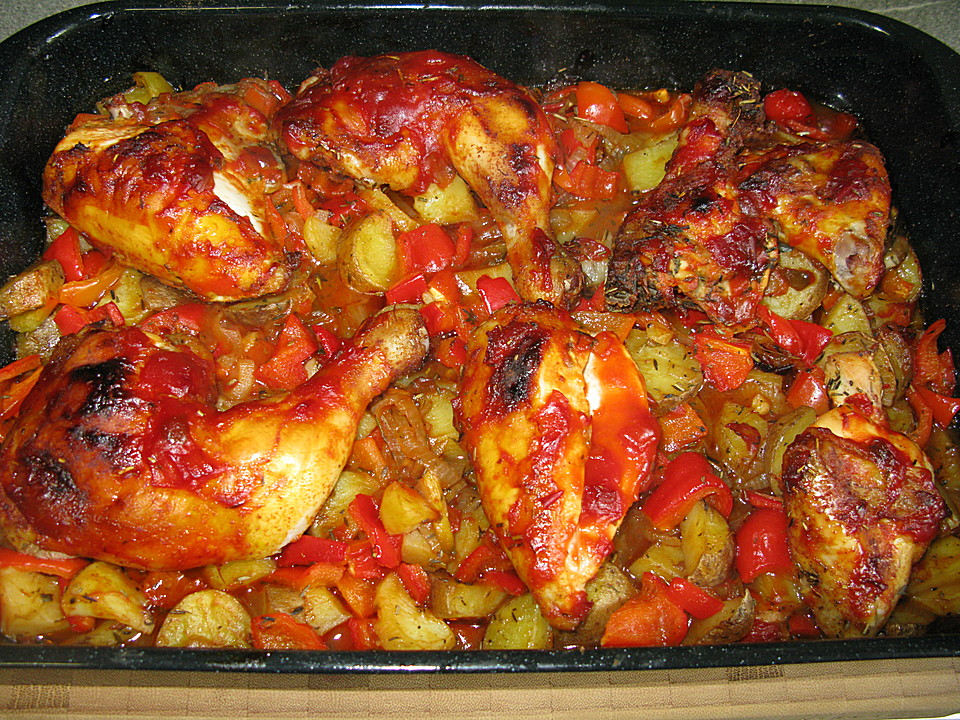 h hnchen mit kartoffeln und tomaten vom blech rezept mit bild. Black Bedroom Furniture Sets. Home Design Ideas
