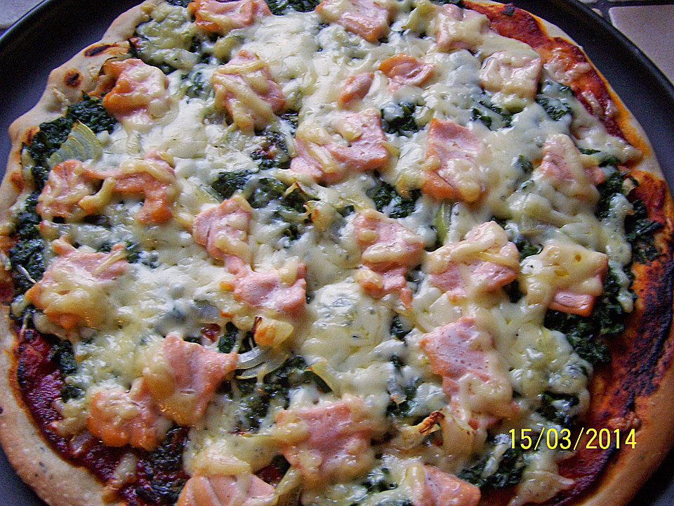 lachs spinat pizza la mama rezept mit bild von lillija. Black Bedroom Furniture Sets. Home Design Ideas