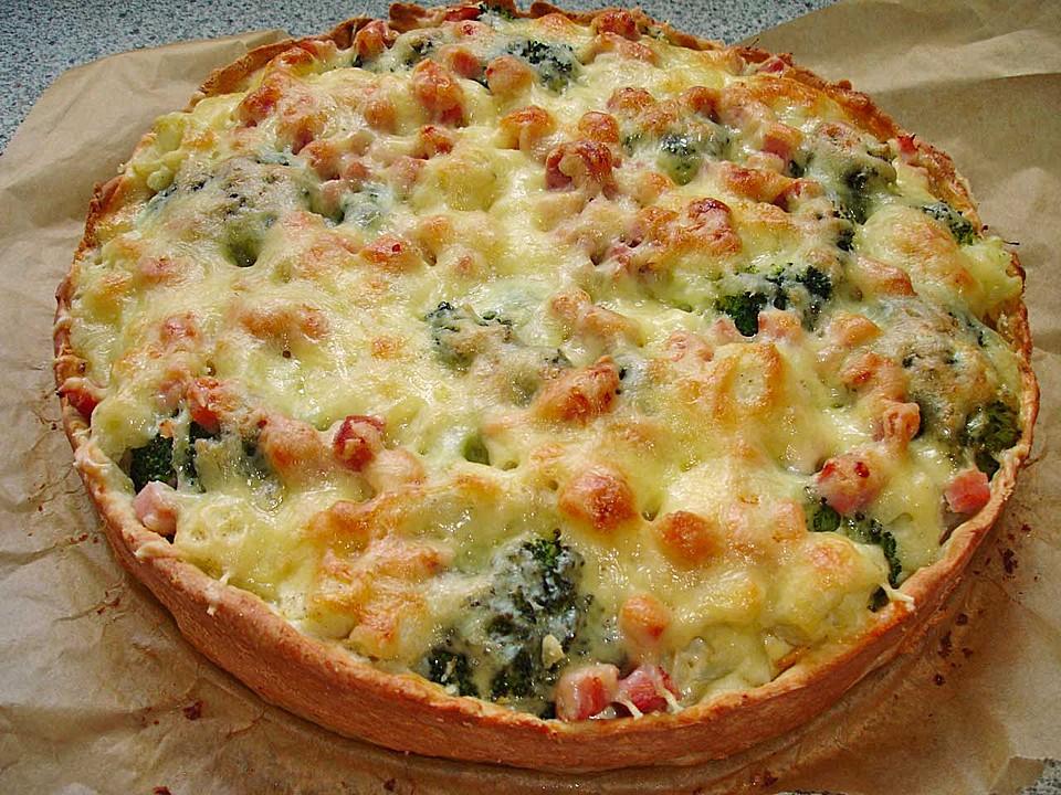 blumenkohl brokkoli quiche mit kochschinken oder kasseler