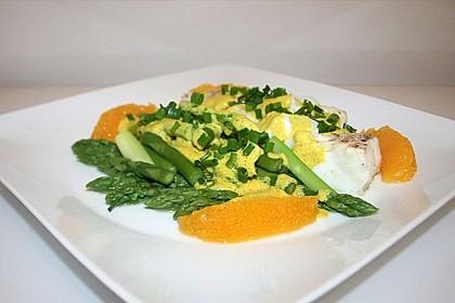 Kabeljaufilet auf grünem Spargel an Orangen-Curry-Sauce 3