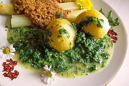 Käuterjules Gründonnerstagsoße via Frankfurter 'Grie Soß' mit Spargel und Pellkartoffeln