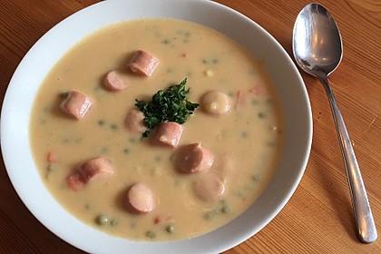 Kartoffelsuppe mit Erbsen und Mettwürstchen 36