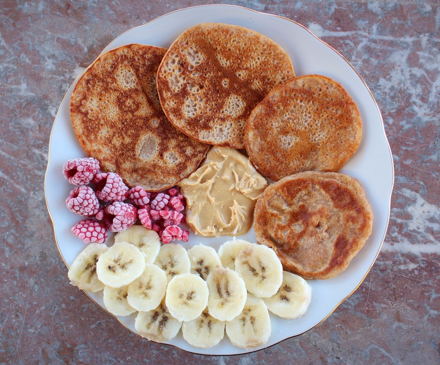 vegane bananen pancakes rezept mit bild von beheart. Black Bedroom Furniture Sets. Home Design Ideas