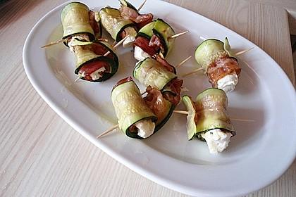 Zucchini-Bacon-Frischkäse-Röllchen