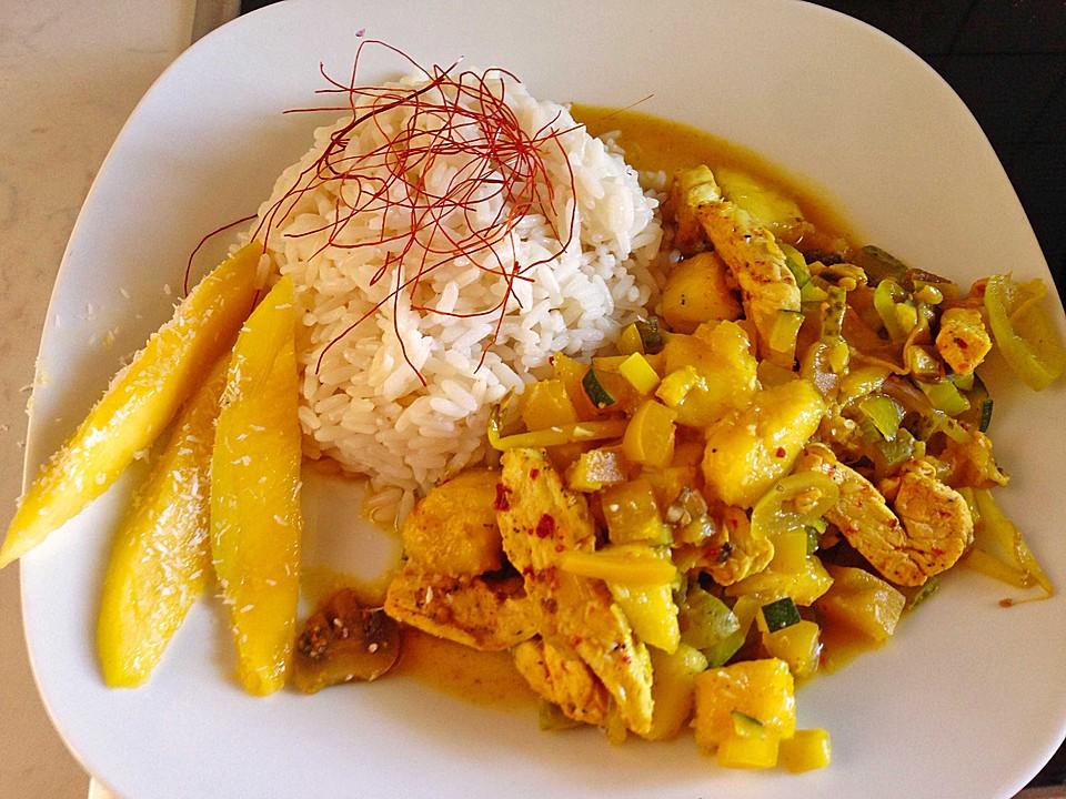h hnchen gem se curry mit mango und reis rezept mit bild. Black Bedroom Furniture Sets. Home Design Ideas