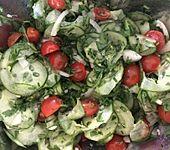 Gemüsezwiebel-Gurken-Tomaten-Salat