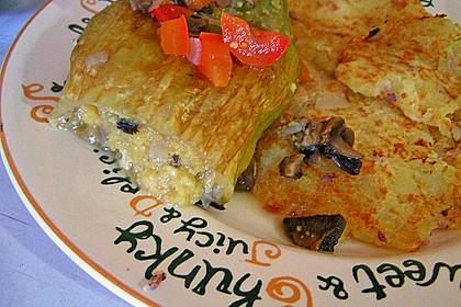 Chrissis gefüllte Paprika mit Polenta, Champignons, Lauch und Kräutercreme 3
