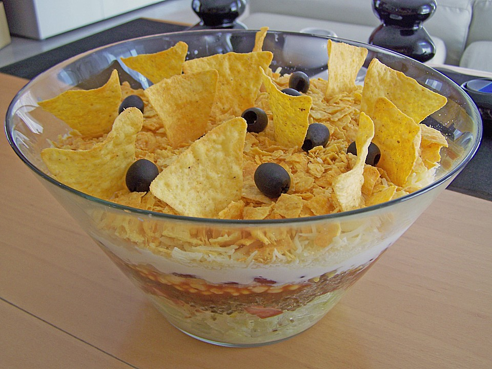 nacho salat mexikanischer schichtsalat rezepte suchen. Black Bedroom Furniture Sets. Home Design Ideas