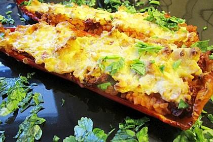 Gefüllte Spitzpaprika mit Tomaten-Couscous und Fetacreme