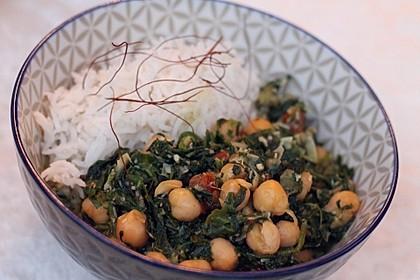 Spinat mit Kichererbsen in Kokosmilch 2