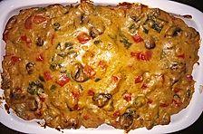 Überbackene Putenschnitzel mit Gemüse in Sahnesauce
