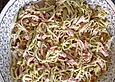 Lauchsalat mit gekochtem Schinken