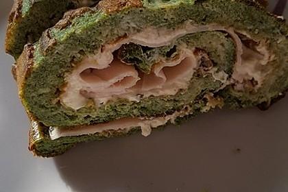 Low-Carb Spinatrolle mit Frischkäse und Kochschinken 53
