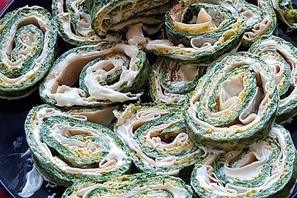 Low-Carb Spinatrolle mit Frischkäse und Kochschinken 37