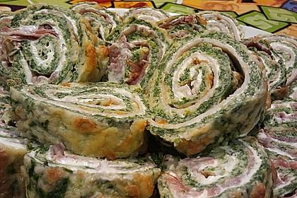 Low-Carb Spinatrolle mit Frischkäse und Kochschinken 22