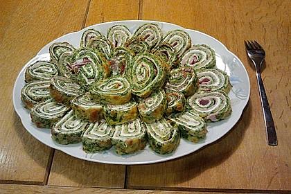 Low-Carb Spinatrolle mit Frischkäse und Kochschinken 11