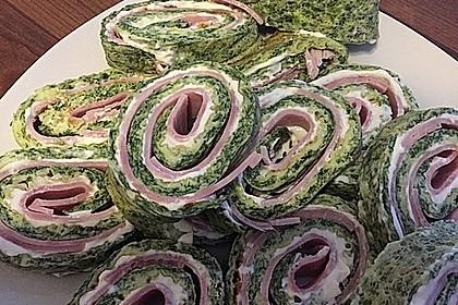 Low-Carb Spinatrolle mit Frischkäse und Kochschinken 19
