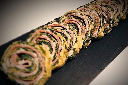 Low-Carb Spinatrolle mit Frischkäse und Kochschinken 4