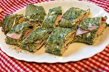 Low-Carb Spinatrolle mit Frischkäse und Kochschinken 24