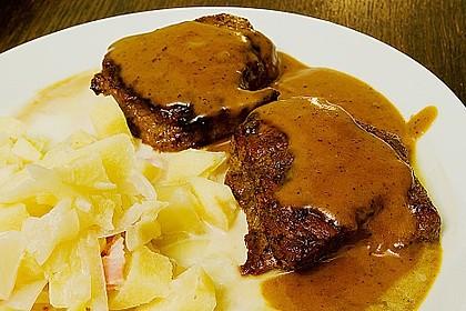 Calvados Steak mit Apfel Speck Gemüse