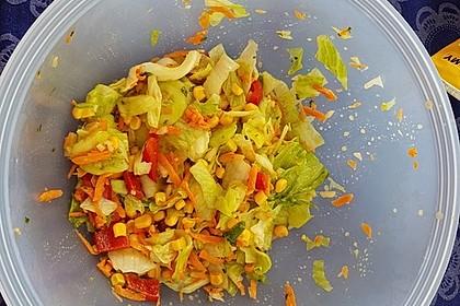 Gemischter Salat mit einem Honig - Walnussdressing und gebratenen Flusskrebsschwänzen 6