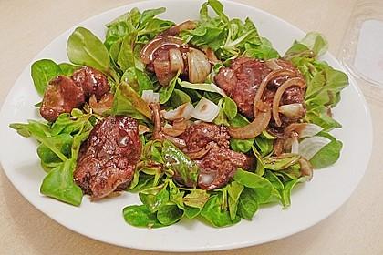 Feldsalat mit Leber und Speck 3