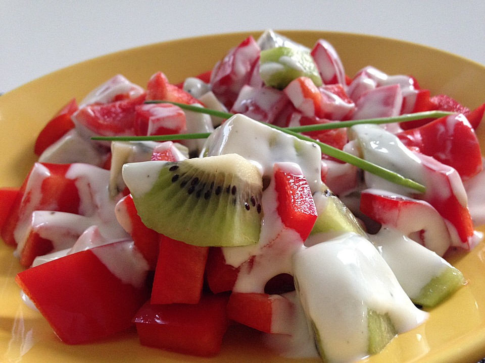 paprika kiwi salat rezept mit bild von spirale. Black Bedroom Furniture Sets. Home Design Ideas