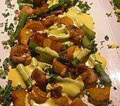 Fisch mit Senf-Honig-Marinade, Spargel und Kartoffeln