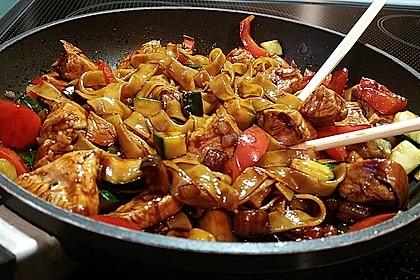 Asiatisch gebratene Nudeln süß - scharf, vegetarisch 4