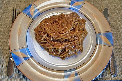 Asiatisch gebratene Nudeln süß - scharf, vegetarisch 34
