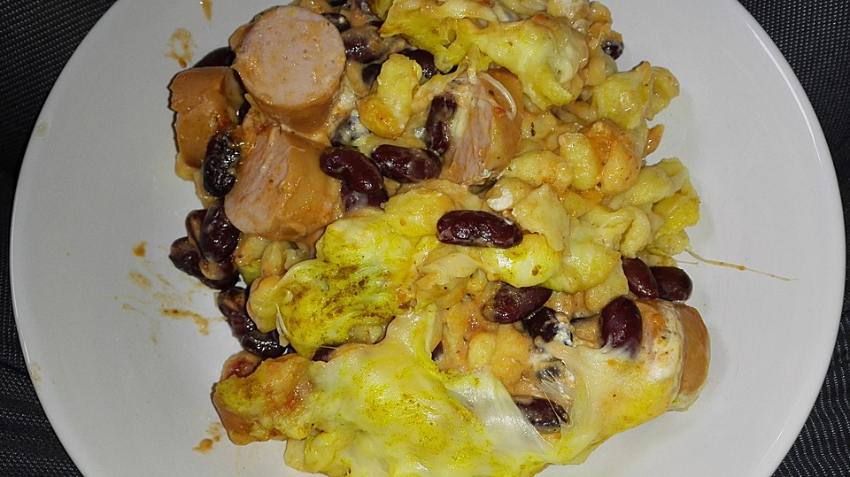 kaesekuchen mit wuerstchen, spätzle mit wurst und bohnen von xana2510   chefkoch.de, Design ideen