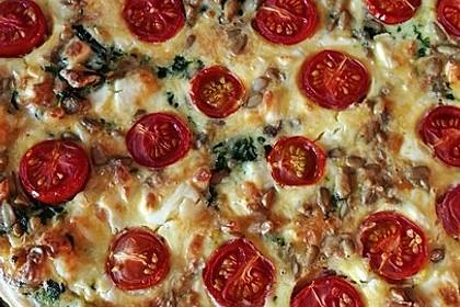 Quiche mit Spinat, Feta, Tomaten und Pinienkernen 20