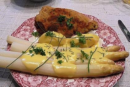 Spargel, neue Kartoffeln, Putenschnitzel und Sauce Hollandaise