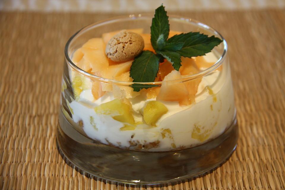 galiamelone mango dessert mit amarettini rezept mit bild. Black Bedroom Furniture Sets. Home Design Ideas
