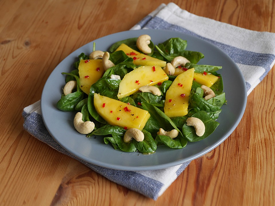 mango spinat salat rezept mit bild von ars vivendi. Black Bedroom Furniture Sets. Home Design Ideas