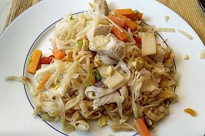 Chinesisch gebratene Nudeln mit Hühnchenfleisch, Ei und Gemüse 76