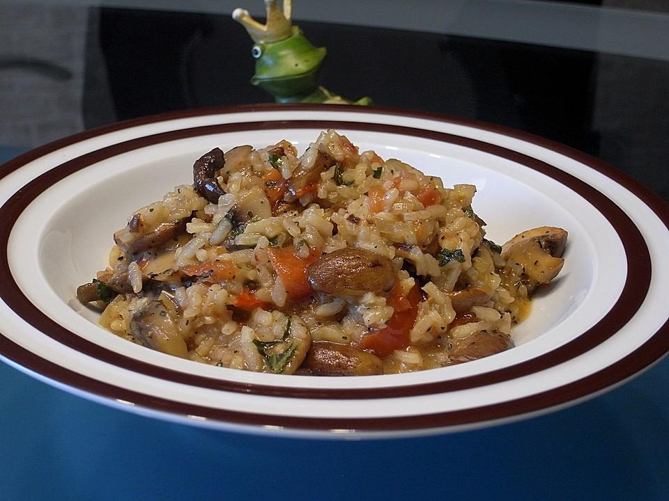 urmelis schnelles pseudo risotto mit sherry champignons tomaten und basilikum rezept mit bild. Black Bedroom Furniture Sets. Home Design Ideas