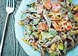Vegetarischer Dinkelvollkorn-Nudelsalat mit Joghurt-Rahm-Dressing