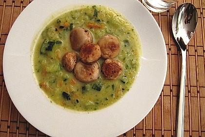 Zucchinicremesuppe mit gebratenen Champignons 1