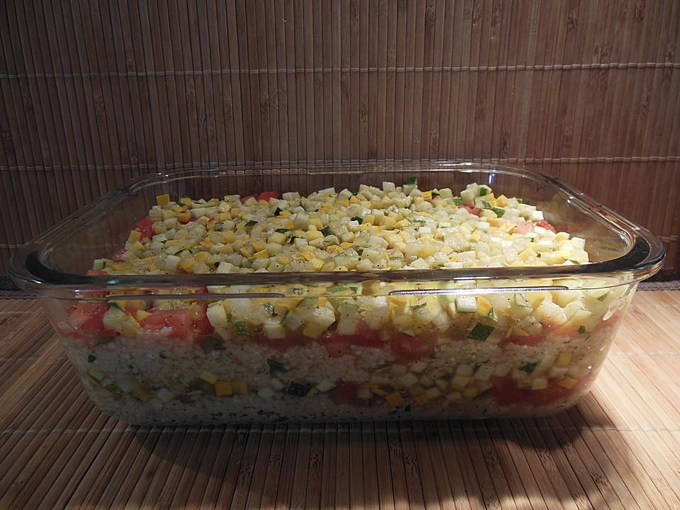schichtsalat mit zucchini und couscous von biezi. Black Bedroom Furniture Sets. Home Design Ideas