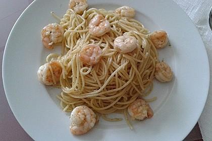 Spaghetti aglio e olio mit Garnelen 2