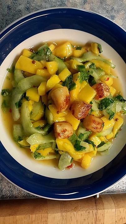 mango gurken salat mit kammmuscheln rezept mit bild. Black Bedroom Furniture Sets. Home Design Ideas