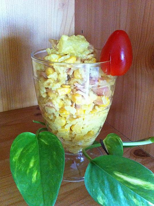 curry reis salat mit schinken mais und ananas rezept mit. Black Bedroom Furniture Sets. Home Design Ideas