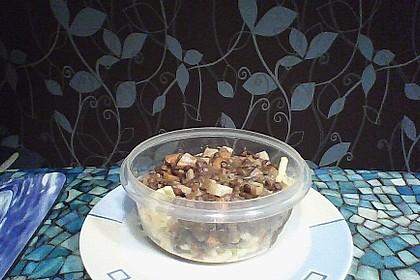 Linseneintopf mit Maronen, Speck und Kartoffeln